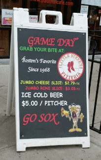 Little Steves Pizzeria Red Sox Beer Deal