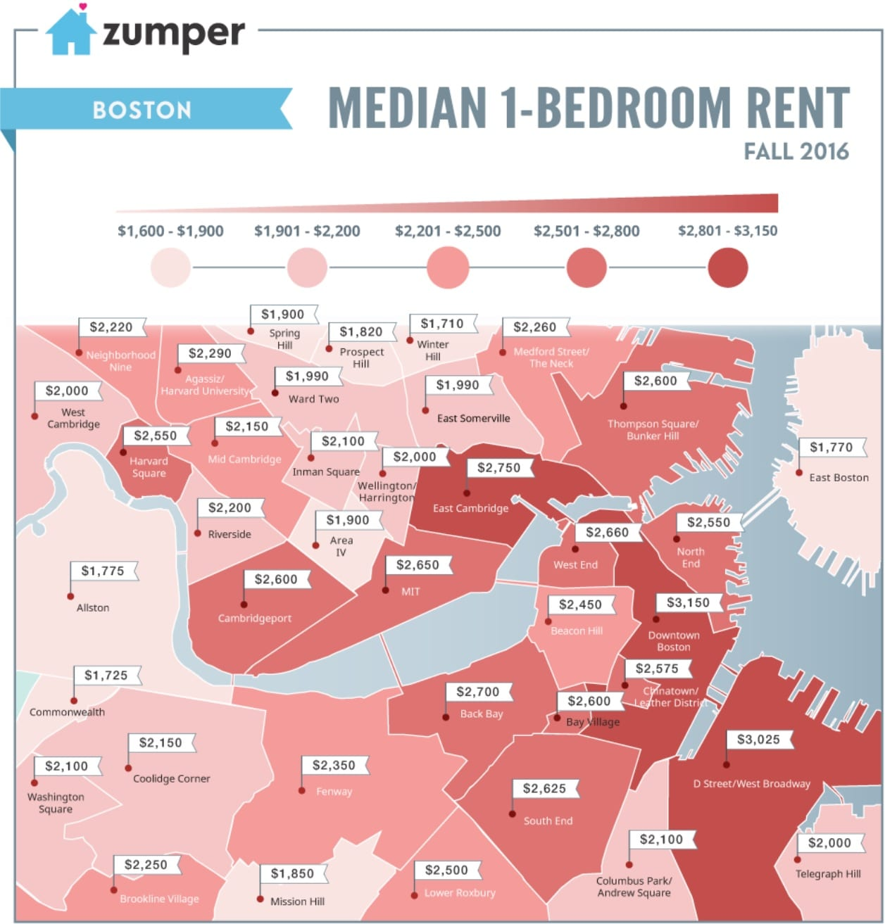zumper boston rental map. Average Rent in Boston  Massachusetts   Boston on Budget