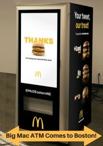 McDonalds Big Mac ATM Free Burgers Boston