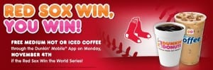 Red Sox Win Free Dunkin Donuts