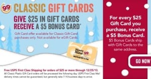 99 Holiday Gift Card