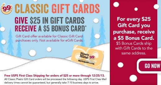 Holiday Restaurant Gift Card Promotions 2013