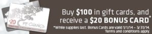 PF Changs Gift Card Promotion 2013
