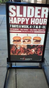 5 Napkin Burger Happy Hour Sign