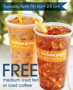 Free Au Bon Pain Iced Coffee 2015