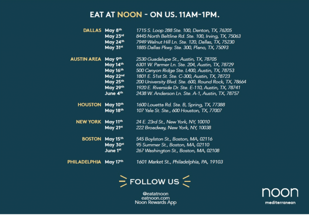Noon Free Food Schedule