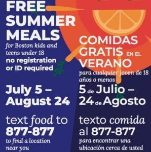 Free Food for Boston Kids for Summer 2018